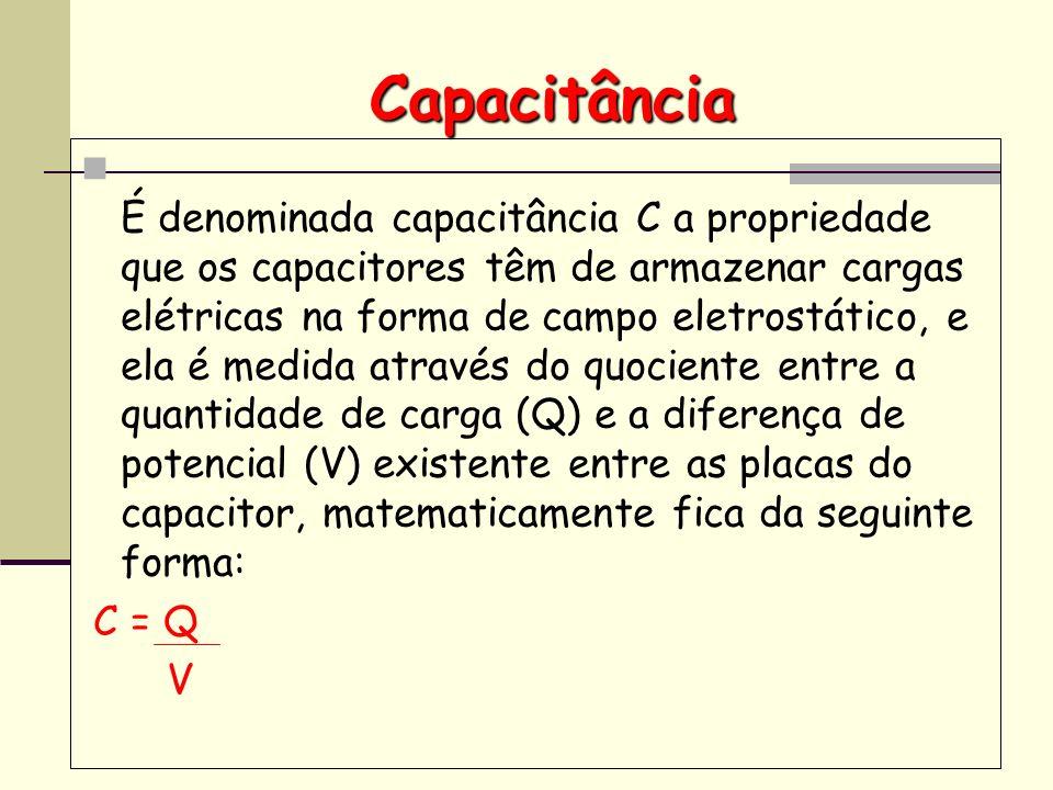 Capacitância É denominada capacitância C a propriedade que os capacitores têm de armazenar cargas elétricas na forma de campo eletrostático, e ela é m