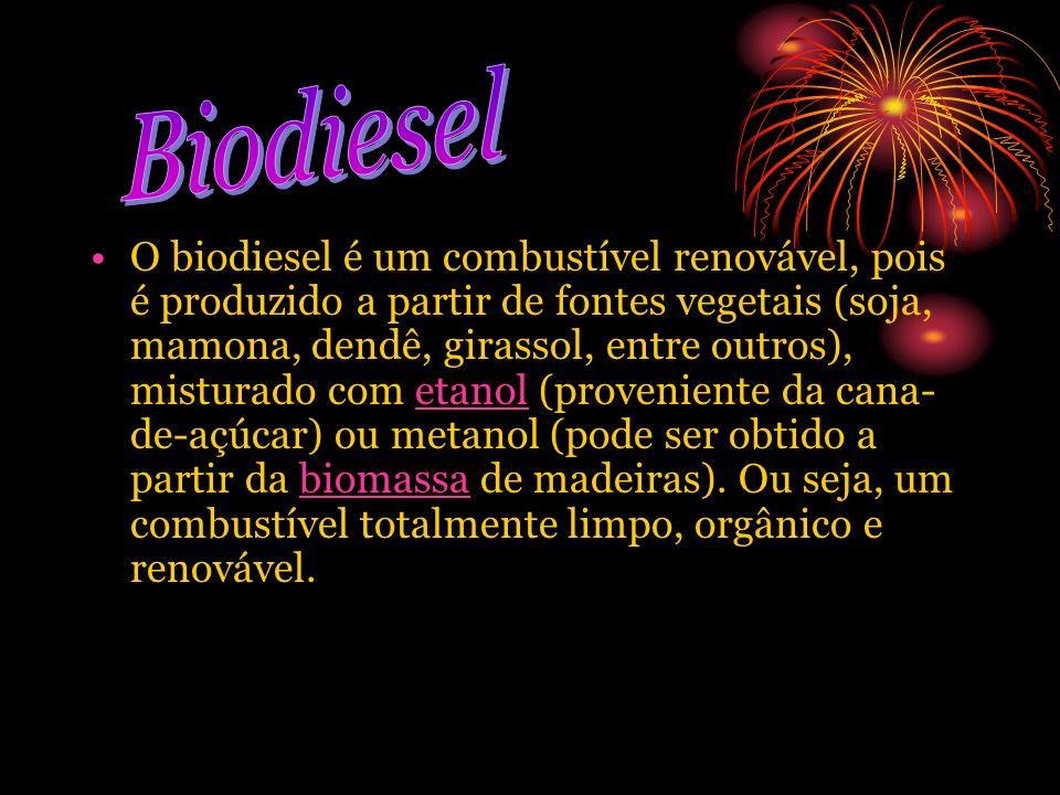 O biodiesel é um combustível renovável, pois é produzido a partir de fontes vegetais (soja, mamona, dendê, girassol, entre outros), misturado com etan