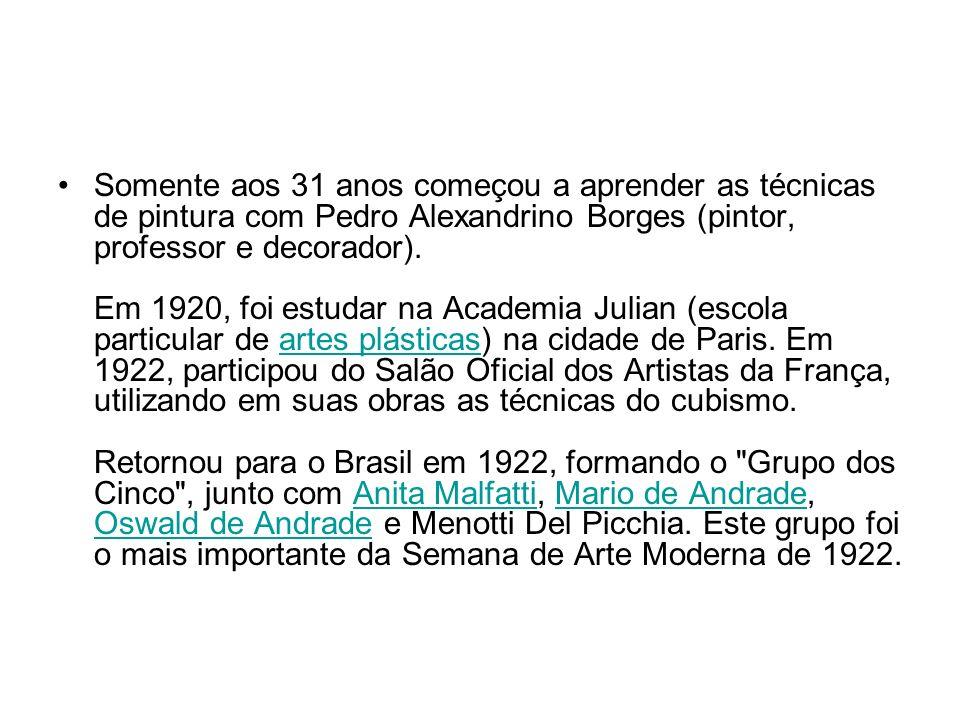 Somente aos 31 anos começou a aprender as técnicas de pintura com Pedro Alexandrino Borges (pintor, professor e decorador). Em 1920, foi estudar na Ac