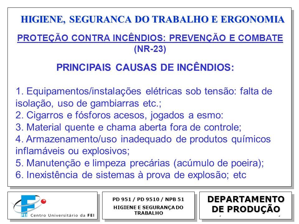 EGM 2005 HIGIENE, SEGURANCA DO TRABALHO E ERGONOMIA DEPARTAMENTO DE PRODUÇÃO PD 951 / PD 9510 / NPB 51 HIGIENE E SEGURANÇA DO TRABALHO PRINCIPAIS CAUS