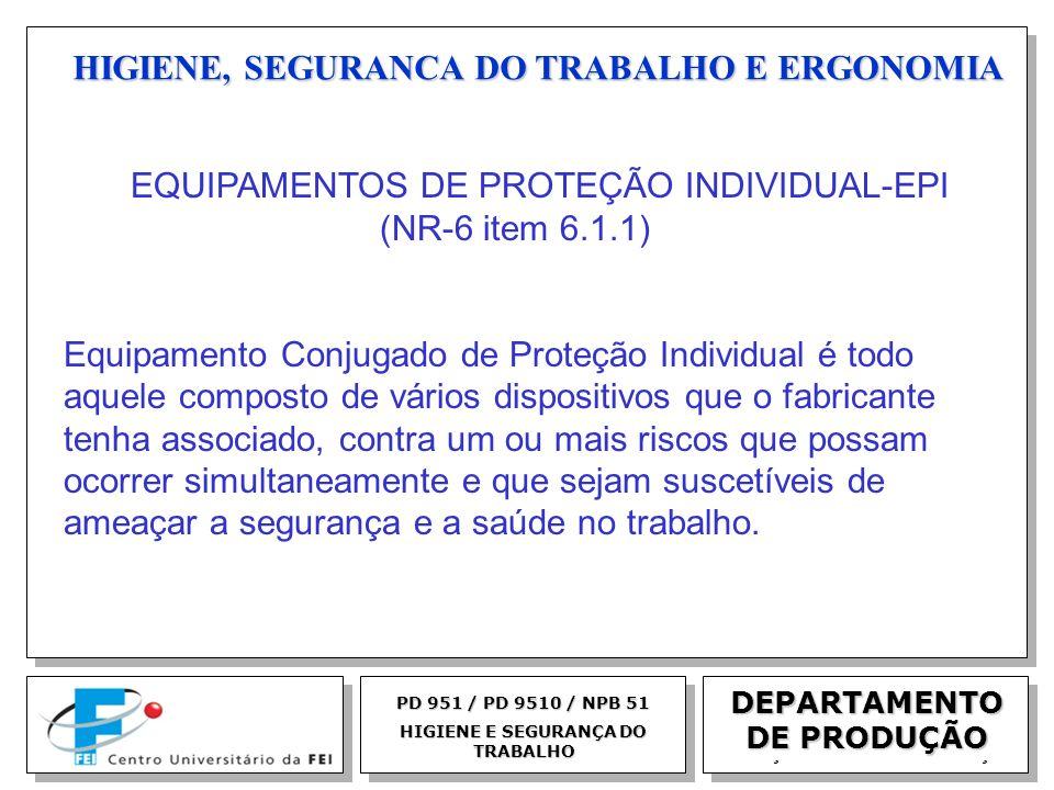 EGM 2005 HIGIENE, SEGURANCA DO TRABALHO E ERGONOMIA DEPARTAMENTO DE PRODUÇÃO PD 951 / PD 9510 / NPB 51 HIGIENE E SEGURANÇA DO TRABALHO EQUIPAMENTOS DE