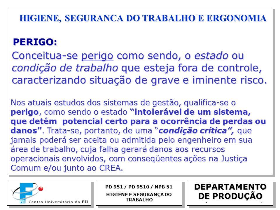 EGM 2005 HIGIENE, SEGURANCA DO TRABALHO E ERGONOMIA DEPARTAMENTO DE PRODUÇÃO PERIGO: PD 951 / PD 9510 / NPB 51 HIGIENE E SEGURANÇA DO TRABALHO Conceit
