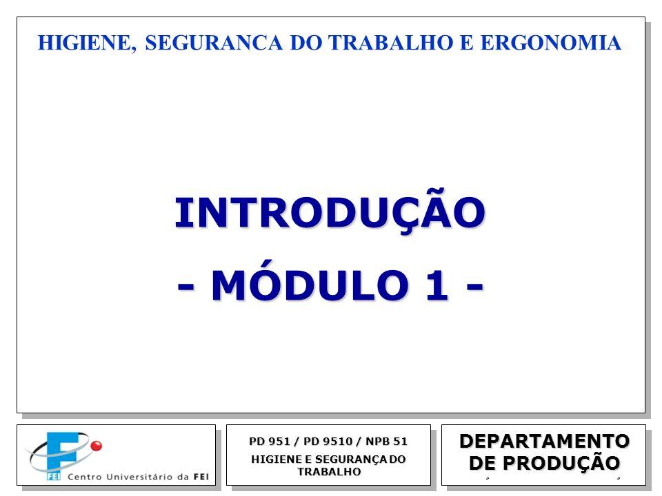 EGM 2005 HIGIENE, SEGURANCA DO TRABALHO E ERGONOMIA PD 951 / PD 9510 / NPB 51 HIGIENE E SEGURANÇA DO TRABALHO INTRODUÇÃO - MÓDULO 1 - DEPARTAMENTO DE