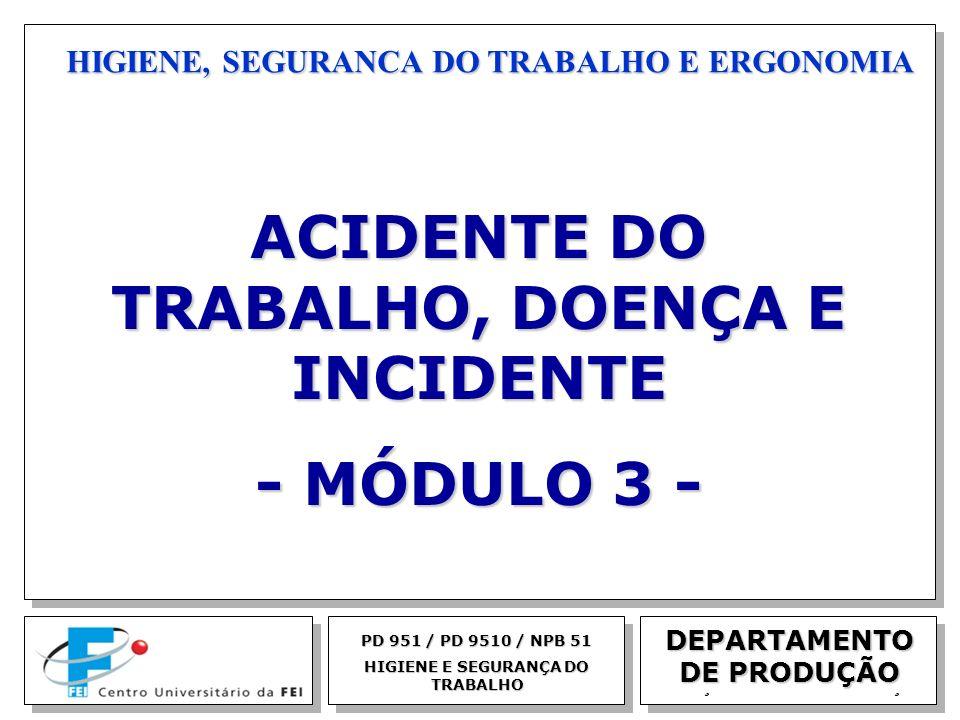 EGM 2005 HIGIENE, SEGURANCA DO TRABALHO E ERGONOMIA DEPARTAMENTO DE PRODUÇÃO PD 951 / PD 9510 / NPB 51 HIGIENE E SEGURANÇA DO TRABALHO ACIDENTE DO TRA