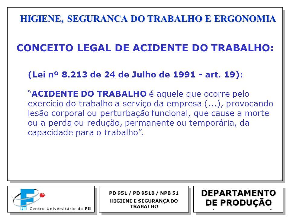 EGM 2005 HIGIENE, SEGURANCA DO TRABALHO E ERGONOMIA DEPARTAMENTO DE PRODUÇÃO PD 951 / PD 9510 / NPB 51 HIGIENE E SEGURANÇA DO TRABALHO CONCEITO LEGAL