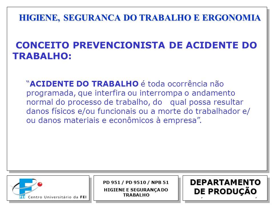 EGM 2005 HIGIENE, SEGURANCA DO TRABALHO E ERGONOMIA DEPARTAMENTO DE PRODUÇÃO PD 951 / PD 9510 / NPB 51 HIGIENE E SEGURANÇA DO TRABALHO CONCEITO PREVEN