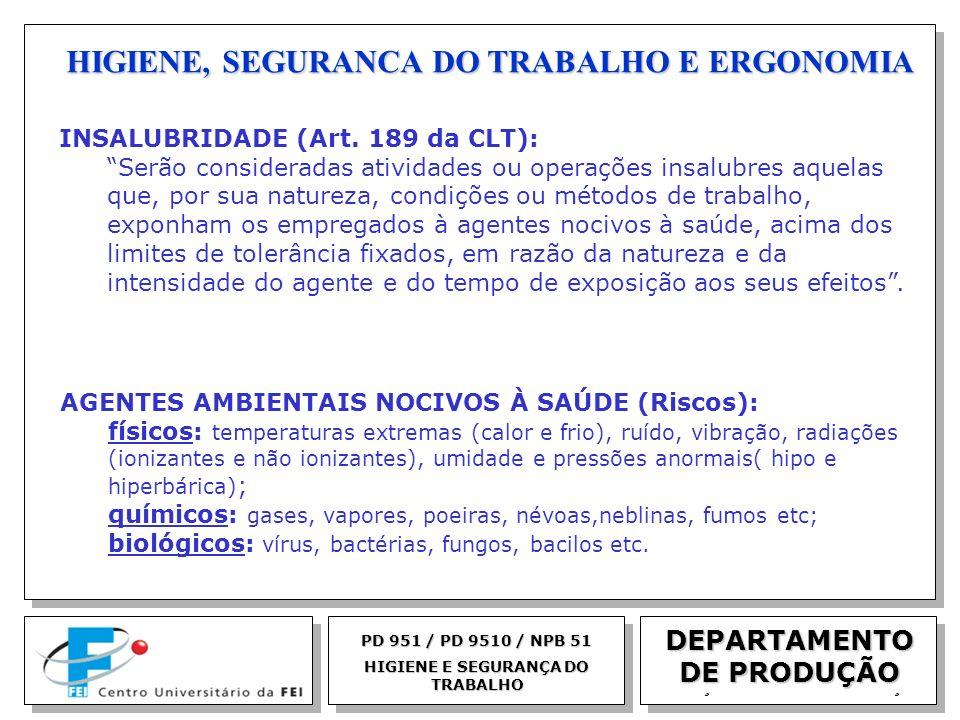 EGM 2005 HIGIENE, SEGURANCA DO TRABALHO E ERGONOMIA DEPARTAMENTO DE PRODUÇÃO PD 951 / PD 9510 / NPB 51 HIGIENE E SEGURANÇA DO TRABALHO INSALUBRIDADE (