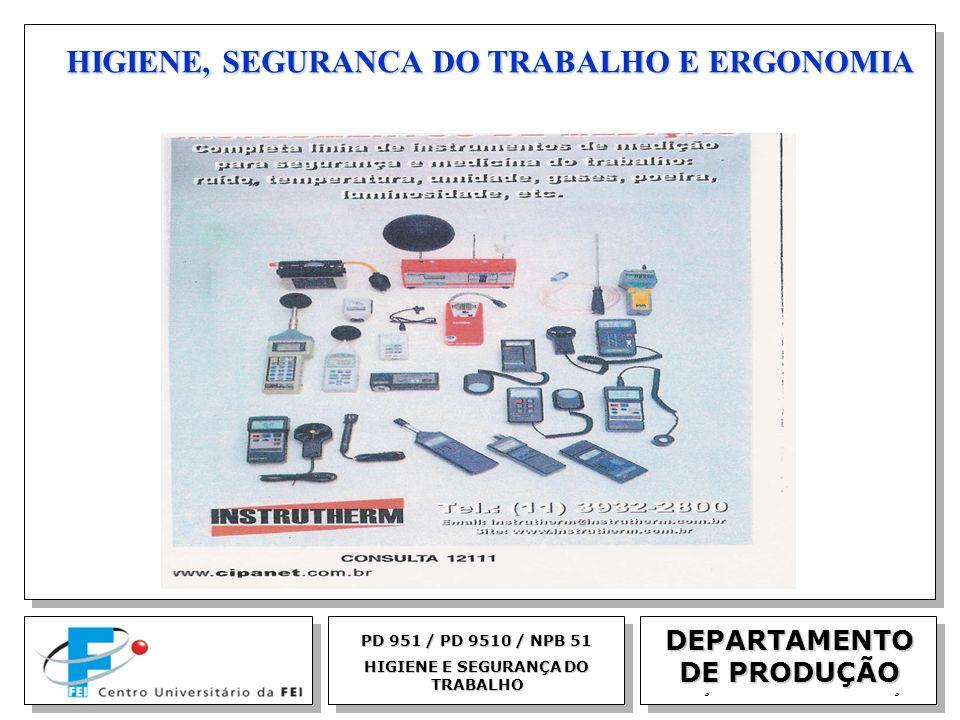 EGM 2005 HIGIENE, SEGURANCA DO TRABALHO E ERGONOMIA DEPARTAMENTO DE PRODUÇÃO PD 951 / PD 9510 / NPB 51 HIGIENE E SEGURANÇA DO TRABALHO