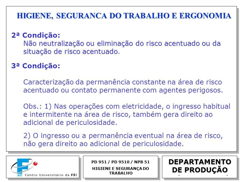 EGM 2005 HIGIENE, SEGURANCA DO TRABALHO E ERGONOMIA DEPARTAMENTO DE PRODUÇÃO PD 951 / PD 9510 / NPB 51 HIGIENE E SEGURANÇA DO TRABALHO 2ª Condição: Nã