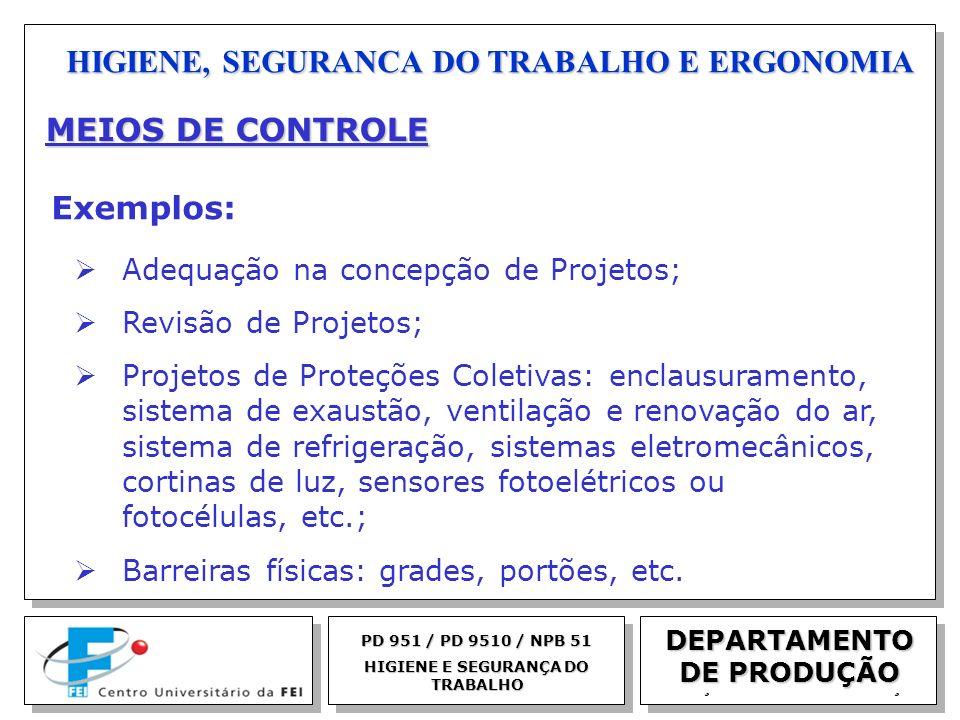 EGM 2005 HIGIENE, SEGURANCA DO TRABALHO E ERGONOMIA DEPARTAMENTO DE PRODUÇÃO PD 951 / PD 9510 / NPB 51 HIGIENE E SEGURANÇA DO TRABALHO MEIOS DE CONTRO