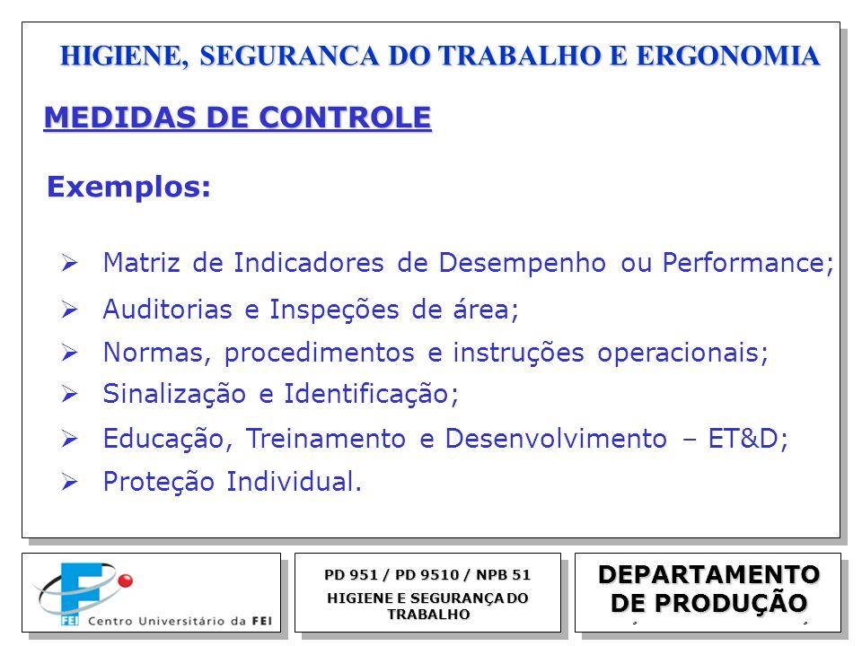 EGM 2005 HIGIENE, SEGURANCA DO TRABALHO E ERGONOMIA DEPARTAMENTO DE PRODUÇÃO PD 951 / PD 9510 / NPB 51 HIGIENE E SEGURANÇA DO TRABALHO MEDIDAS DE CONT