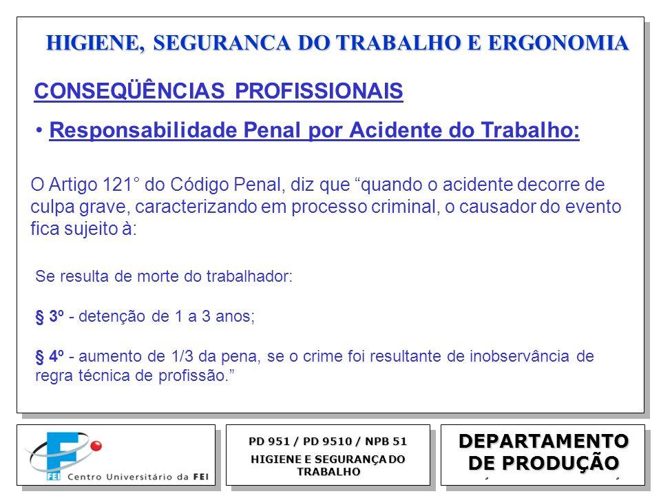 EGM 2005 HIGIENE, SEGURANCA DO TRABALHO E ERGONOMIA DEPARTAMENTO DE PRODUÇÃO PD 951 / PD 9510 / NPB 51 HIGIENE E SEGURANÇA DO TRABALHO O Artigo 121° d