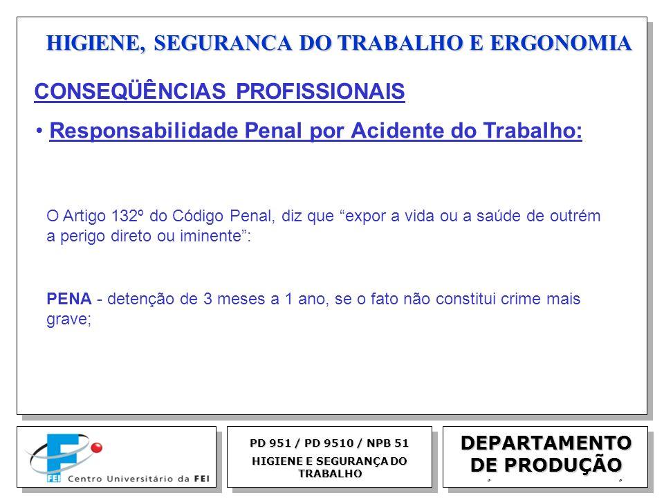 EGM 2005 HIGIENE, SEGURANCA DO TRABALHO E ERGONOMIA DEPARTAMENTO DE PRODUÇÃO PD 951 / PD 9510 / NPB 51 HIGIENE E SEGURANÇA DO TRABALHO O Artigo 132º d