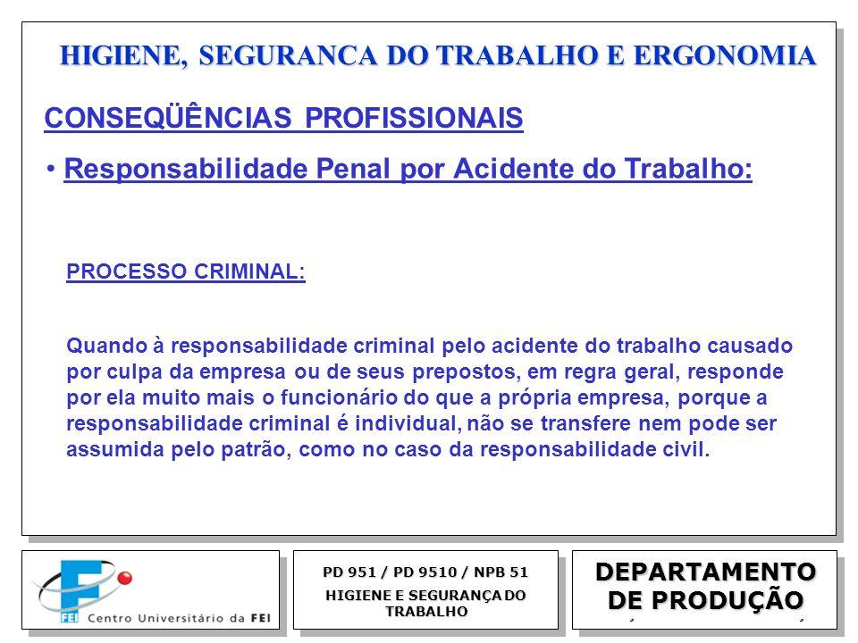 EGM 2005 HIGIENE, SEGURANCA DO TRABALHO E ERGONOMIA DEPARTAMENTO DE PRODUÇÃO PD 951 / PD 9510 / NPB 51 HIGIENE E SEGURANÇA DO TRABALHO PROCESSO CRIMIN