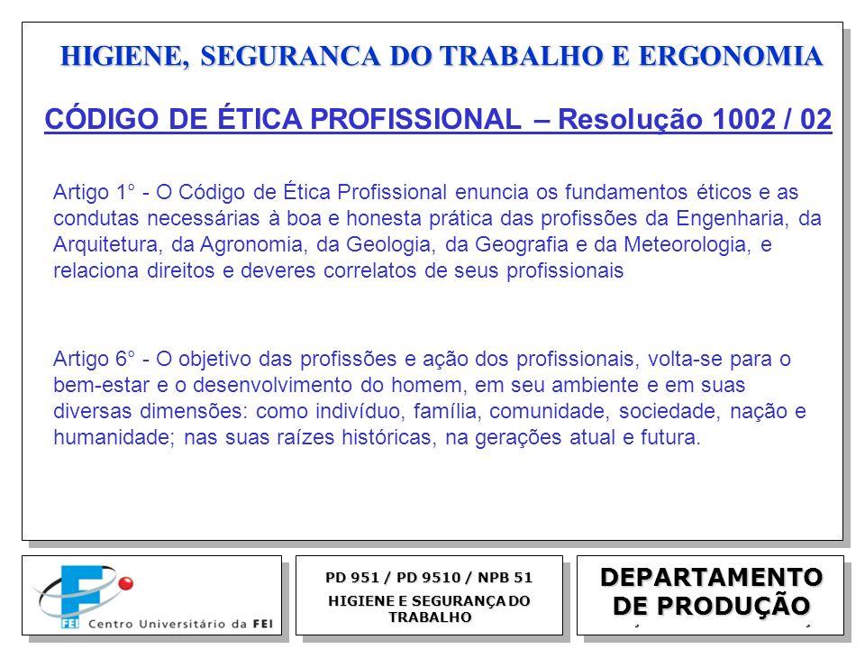EGM 2005 HIGIENE, SEGURANCA DO TRABALHO E ERGONOMIA DEPARTAMENTO DE PRODUÇÃO PD 951 / PD 9510 / NPB 51 HIGIENE E SEGURANÇA DO TRABALHO CÓDIGO DE ÉTICA