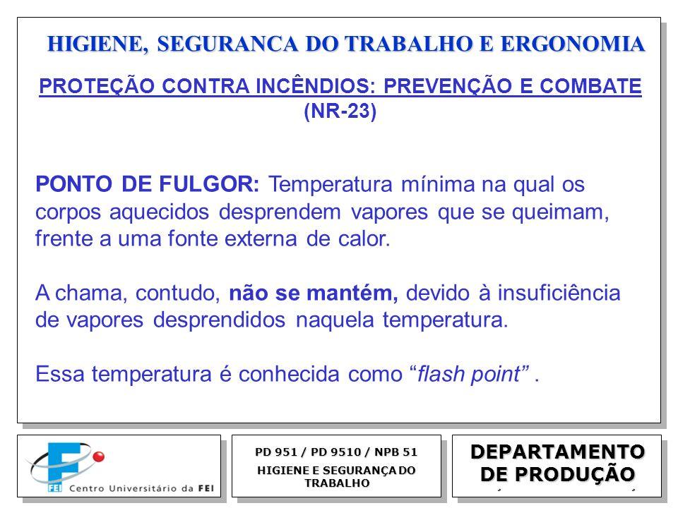 EGM 2005 HIGIENE, SEGURANCA DO TRABALHO E ERGONOMIA DEPARTAMENTO DE PRODUÇÃO PD 951 / PD 9510 / NPB 51 HIGIENE E SEGURANÇA DO TRABALHO PONTO DE FULGOR