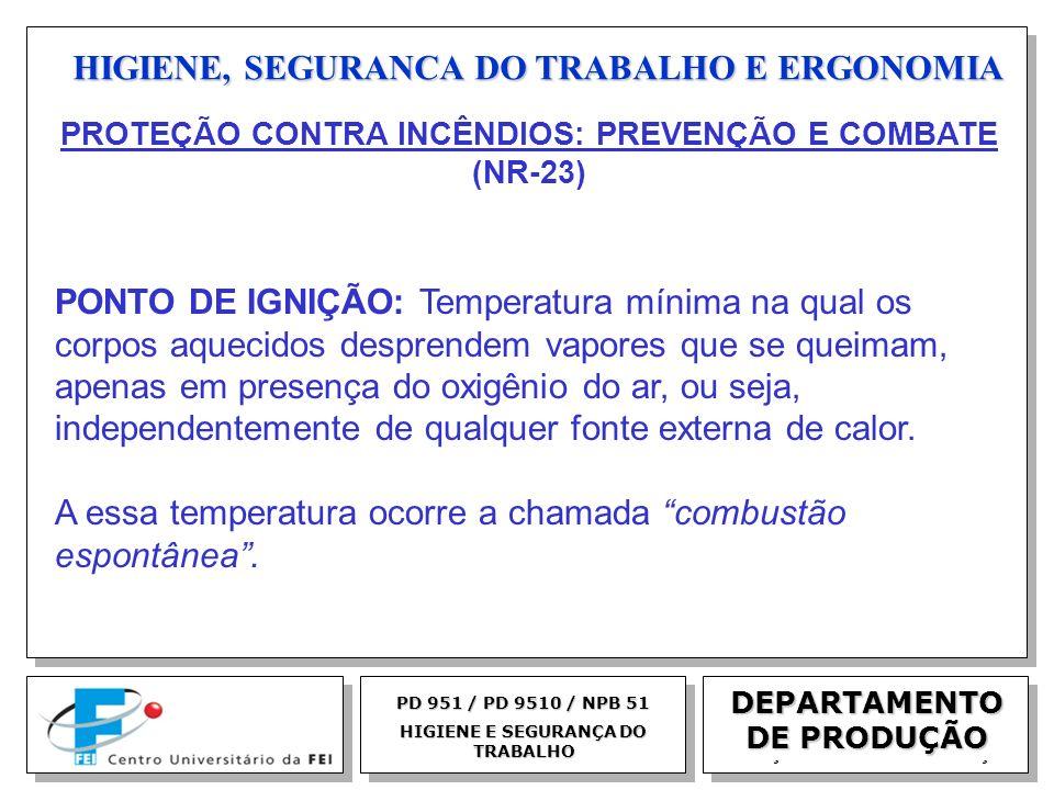 EGM 2005 HIGIENE, SEGURANCA DO TRABALHO E ERGONOMIA DEPARTAMENTO DE PRODUÇÃO PD 951 / PD 9510 / NPB 51 HIGIENE E SEGURANÇA DO TRABALHO PONTO DE IGNIÇÃ