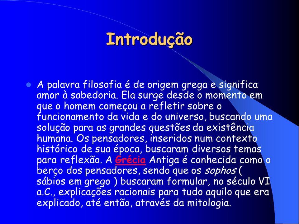 Introdução A palavra filosofia é de origem grega e significa amor à sabedoria. Ela surge desde o momento em que o homem começou a refletir sobre o fun