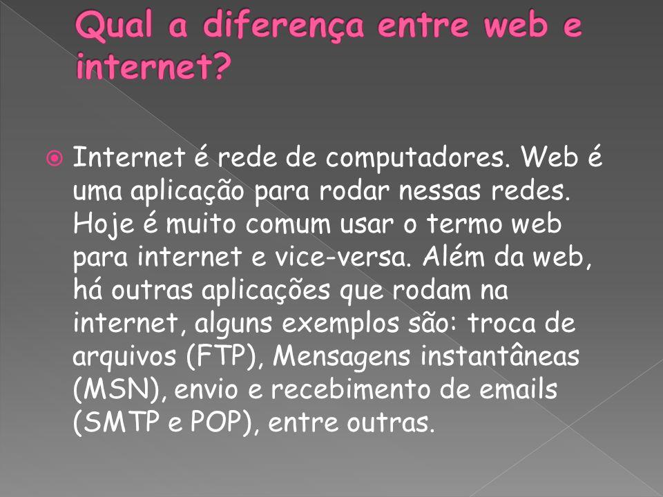 Internet é rede de computadores. Web é uma aplicação para rodar nessas redes. Hoje é muito comum usar o termo web para internet e vice-versa. Além da