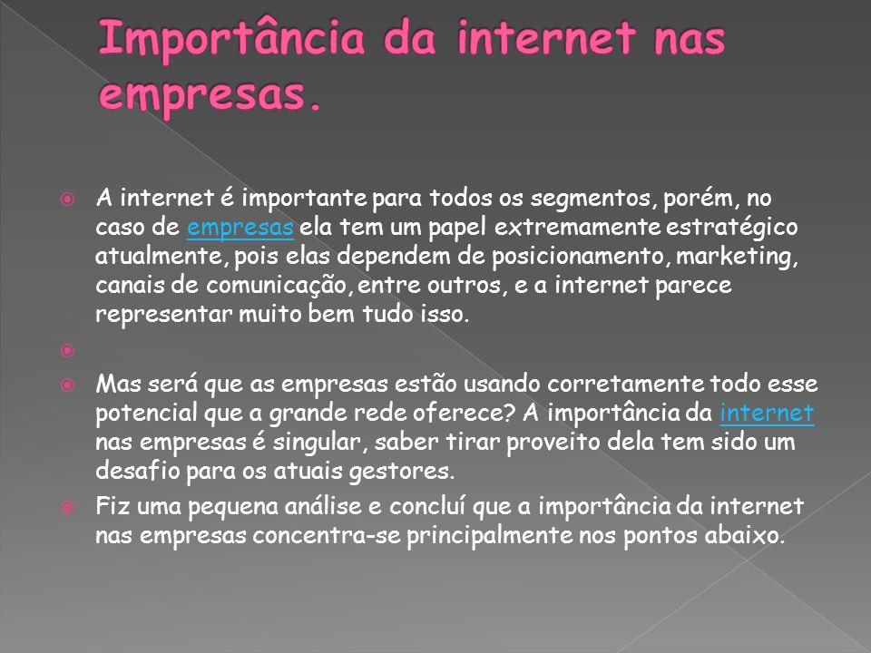 A internet é importante para todos os segmentos, porém, no caso de empresas ela tem um papel extremamente estratégico atualmente, pois elas dependem d
