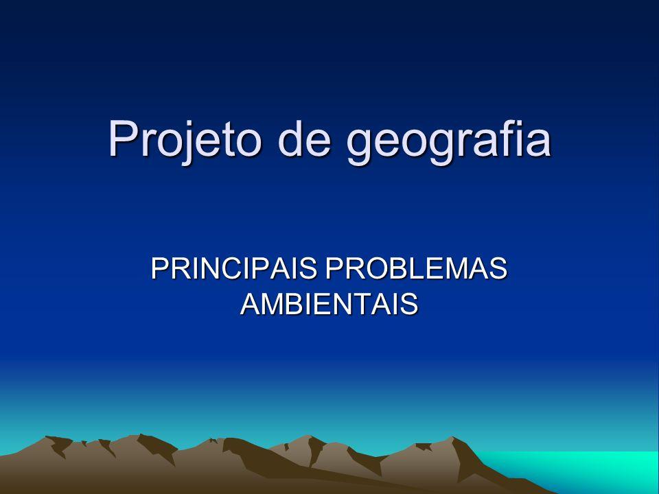 Projeto de geografia PRINCIPAIS PROBLEMAS AMBIENTAIS