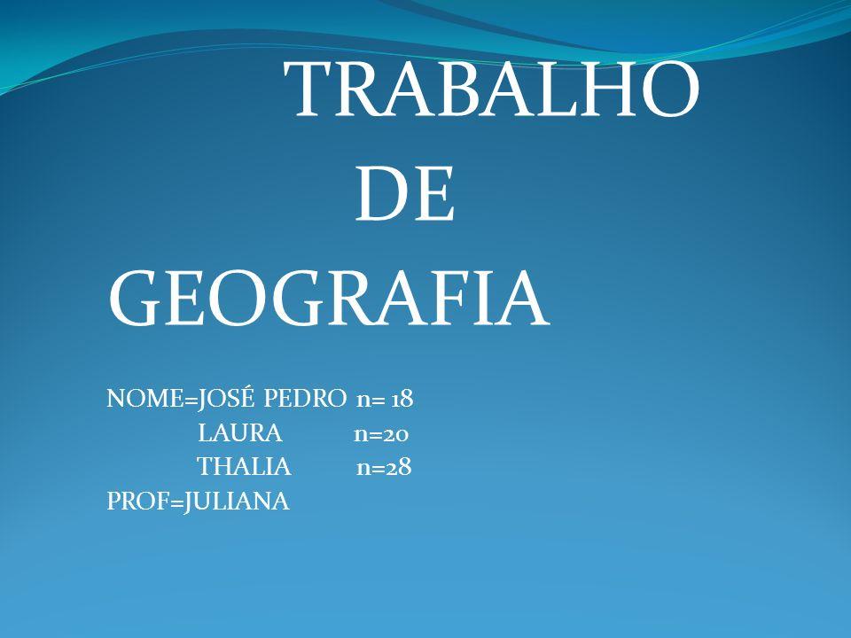 TRABALHO DE GEOGRAFIA NOME=JOSÉ PEDRO n= 18 LAURA n=20 THALIA n=28 PROF=JULIANA
