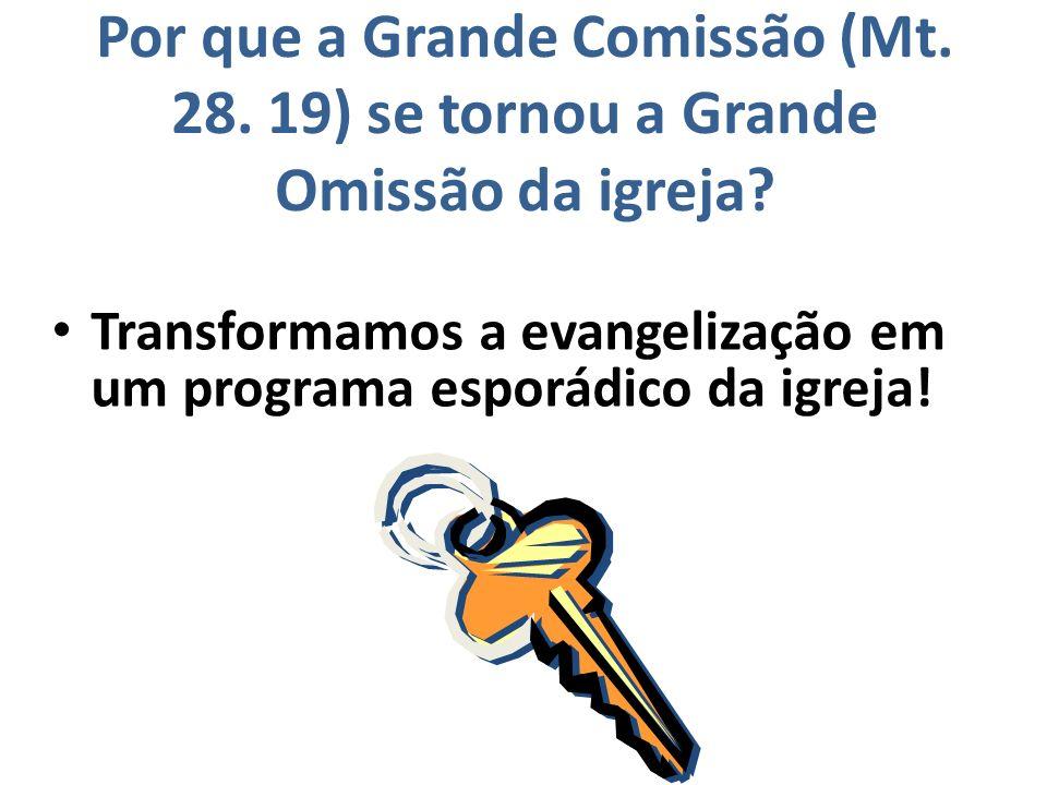 Por que a Grande Comissão (Mt.28. 19) se tornou a Grande Omissão da igreja.