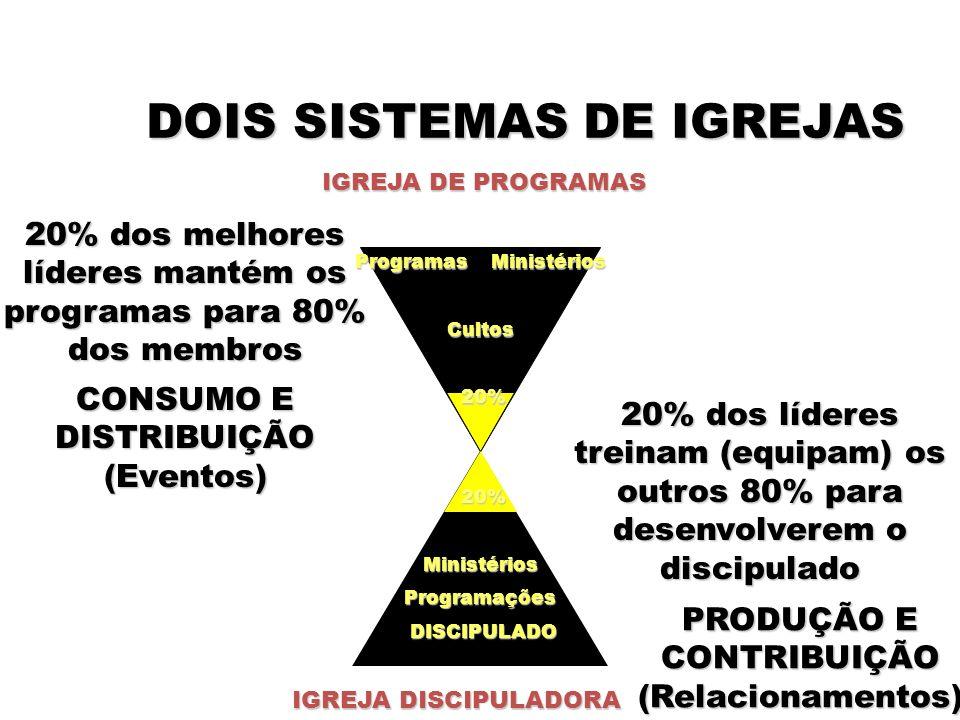 DOIS SISTEMAS DE IGREJAS IGREJA DE PROGRAMAS IGREJA DISCIPULADORA 20% dos melhores líderes mantém os programas para 80% dos membros 20% dos líderes treinam (equipam) os outros 80% para desenvolverem o discipulado PRODUÇÃO E CONTRIBUIÇÃO (Relacionamentos) CONSUMO E DISTRIBUIÇÃO (Eventos) Programas Ministérios Cultos 20% 20% MinistériosProgramações DISCIPULADO DISCIPULADO