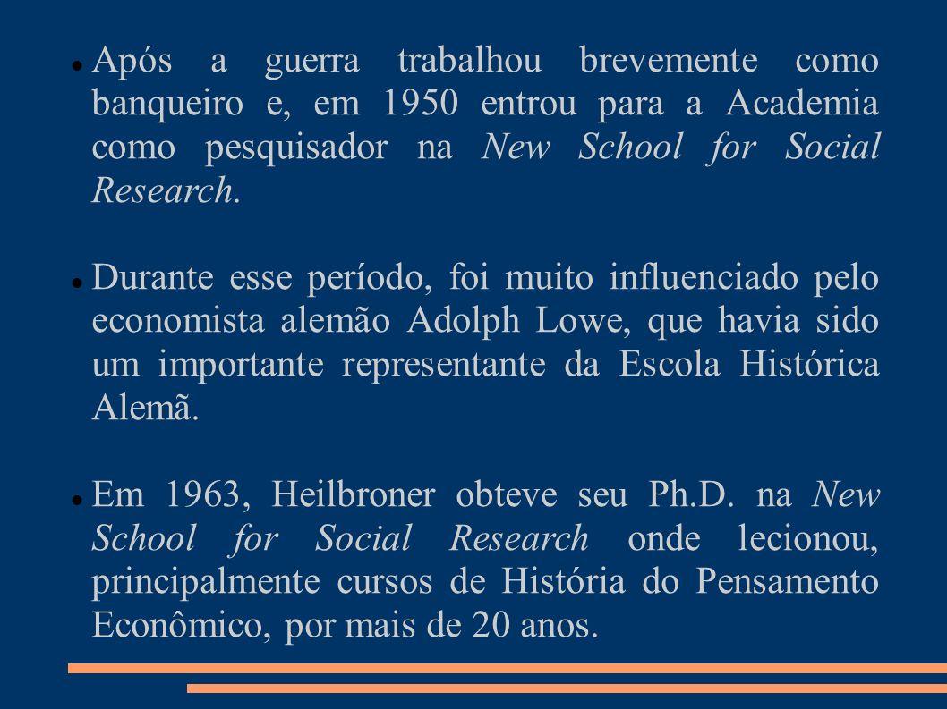 Apesar de altamente não convencional, se considerando mais como um filósofo profano integrando as disciplinas de História, Filosofia e Economia, Heilbroner foi considerado por seus pares um proeminente economista e eleito Vice Presidente da American Economic Association em 1972.
