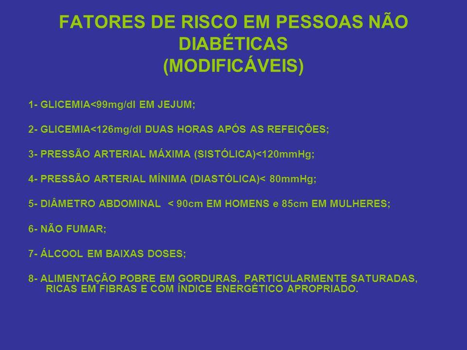 FATORES DE RISCO EM PESSOAS NÃO DIABÉTICAS (MODIFICÁVEIS) 1- GLICEMIA<99mg/dl EM JEJUM; 2- GLICEMIA<126mg/dl DUAS HORAS APÓS AS REFEIÇÕES; 3- PRESSÃO