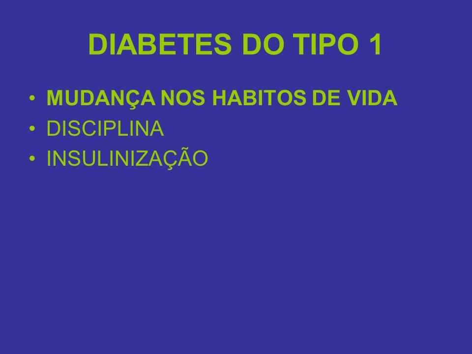 DIABETES DO TIPO 1 MUDANÇA NOS HABITOS DE VIDA DISCIPLINA INSULINIZAÇÃO