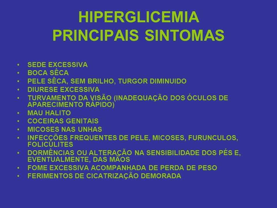 HIPERGLICEMIA PRINCIPAIS SINTOMAS SEDE EXCESSIVA BOCA SÊCA PELE SÊCA, SEM BRILHO, TURGOR DIMINUIDO DIURESE EXCESSIVA TURVAMENTO DA VISÃO (INADEQUAÇÃO