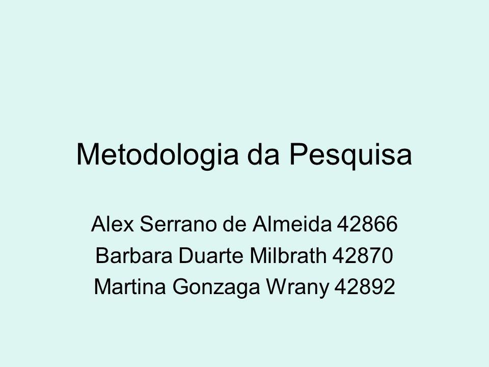 Metodologia da Pesquisa Alex Serrano de Almeida 42866 Barbara Duarte Milbrath 42870 Martina Gonzaga Wrany 42892