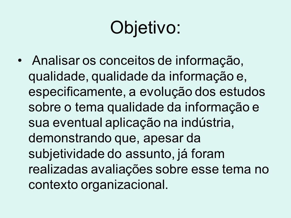 Objetivo: Analisar os conceitos de informação, qualidade, qualidade da informação e, especificamente, a evolução dos estudos sobre o tema qualidade da