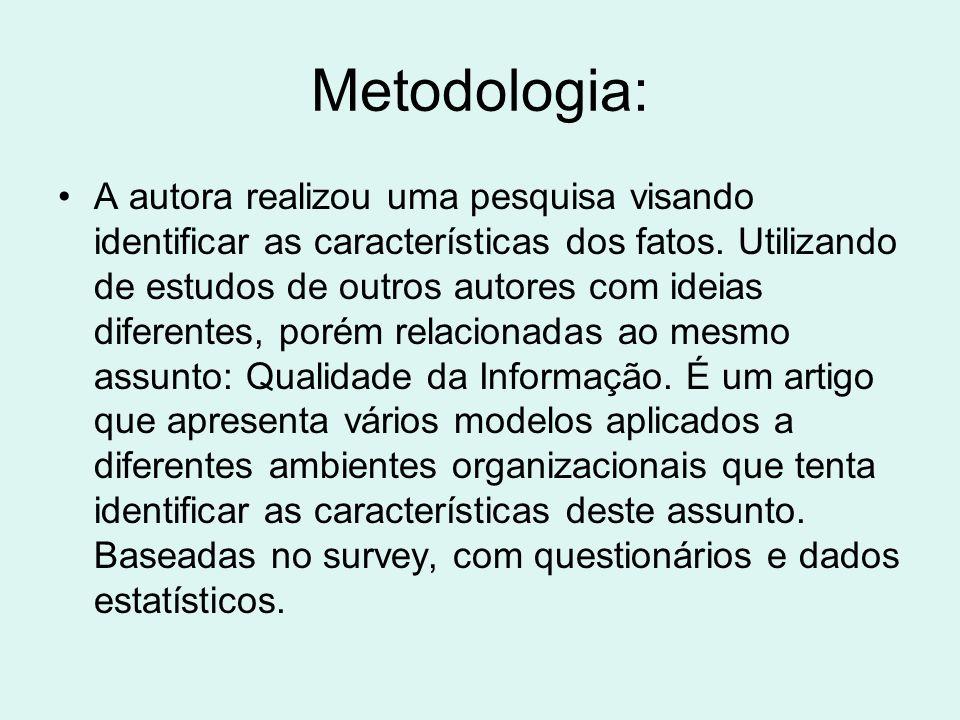 Metodologia: A autora realizou uma pesquisa visando identificar as características dos fatos. Utilizando de estudos de outros autores com ideias difer