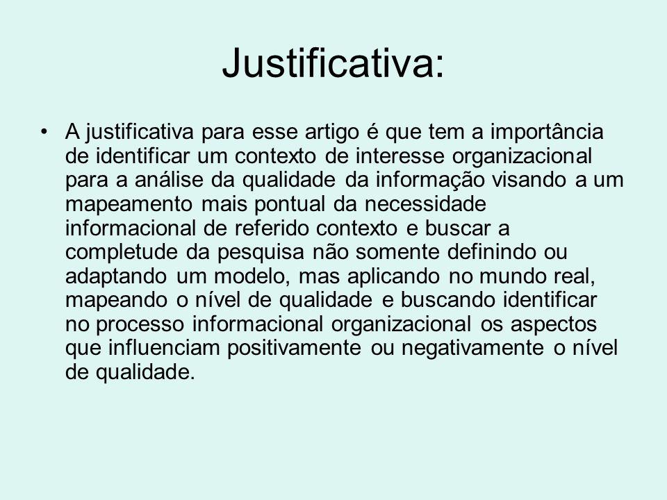 Justificativa: A justificativa para esse artigo é que tem a importância de identificar um contexto de interesse organizacional para a análise da quali