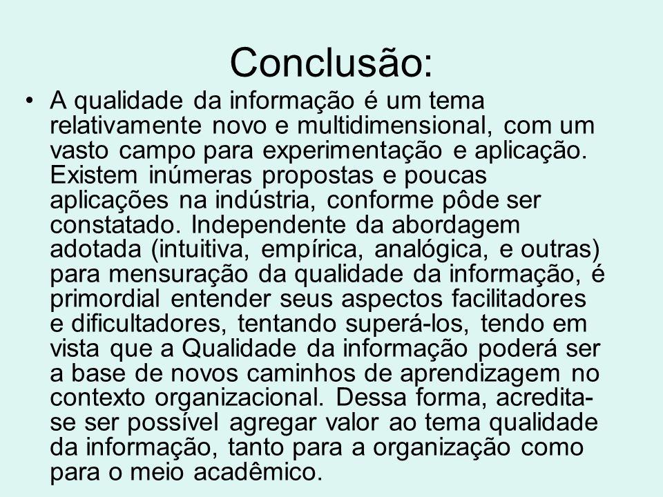 Referência: CALAZANS, Angélica Toffano Seidel.Qualidade na informação: conceitos e aplicações.