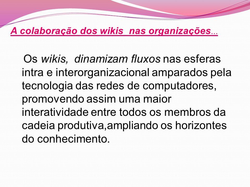 Os wikis, dinamizam fluxos nas esferas intra e interorganizacional amparados pela tecnologia das redes de computadores, promovendo assim uma maior interatividade entre todos os membros da cadeia produtiva,ampliando os horizontes do conhecimento.