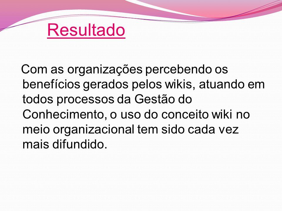 Com as organizações percebendo os benefícios gerados pelos wikis, atuando em todos processos da Gestão do Conhecimento, o uso do conceito wiki no meio organizacional tem sido cada vez mais difundido.