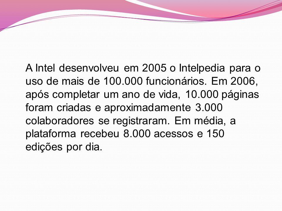 A Intel desenvolveu em 2005 o Intelpedia para o uso de mais de 100.000 funcionários.