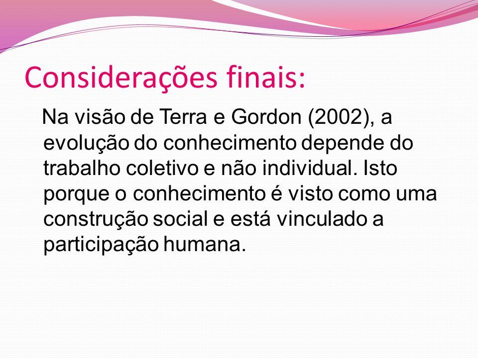Considerações finais: Na visão de Terra e Gordon (2002), a evolução do conhecimento depende do trabalho coletivo e não individual.