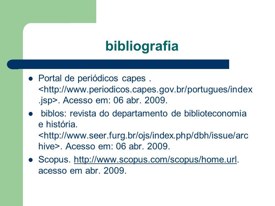 bibliografia Portal de periódicos capes.. Acesso em: 06 abr. 2009. biblos: revista do departamento de biblioteconomia e história.. Acesso em: 06 abr.