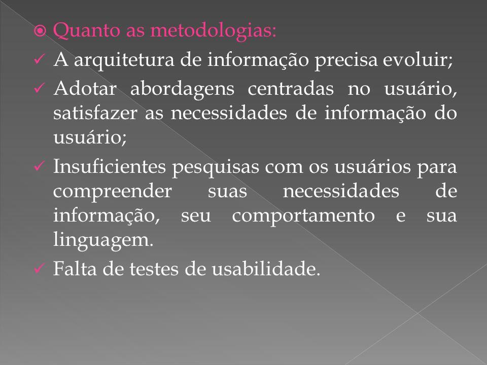 Quanto as metodologias: A arquitetura de informação precisa evoluir; Adotar abordagens centradas no usuário, satisfazer as necessidades de informação do usuário; Insuficientes pesquisas com os usuários para compreender suas necessidades de informação, seu comportamento e sua linguagem.