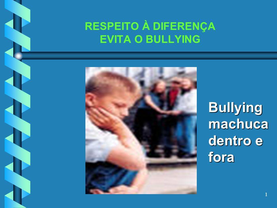 1 RESPEITO À DIFERENÇA EVITA O BULLYING Bullying machuca dentro e fora
