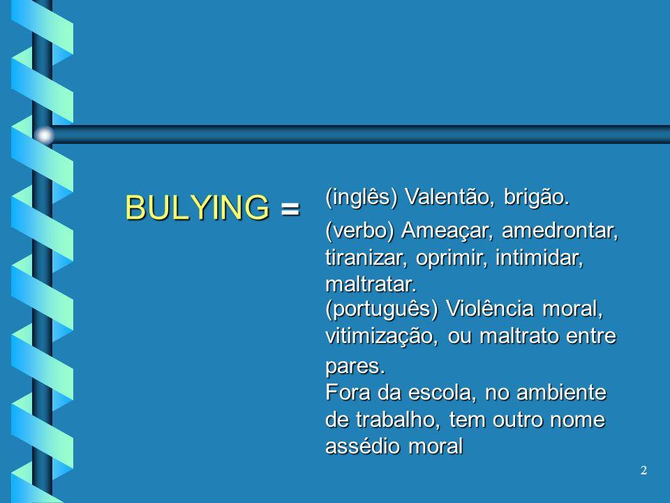 2 BULYING = (inglês) Valentão, brigão. (verbo) Ameaçar, amedrontar, tiranizar, oprimir, intimidar, maltratar. (português) Violência moral, vitimização