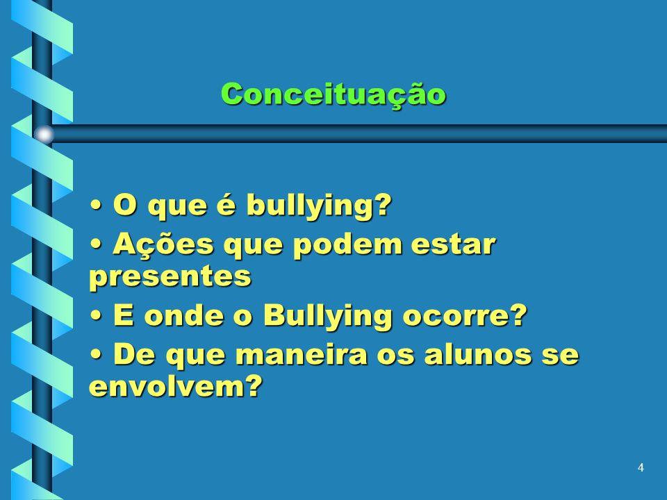 4 Conceituação O O que é bullying? A Ações que podem estar presentes E E onde o Bullying ocorre? D De que maneira os alunos se envolvem?