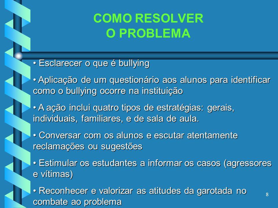 8 COMO RESOLVER O PROBLEMA Esclarecer o que é bullying Aplicação de um questionário aos alunos para identificar como o bullying ocorre na instituição