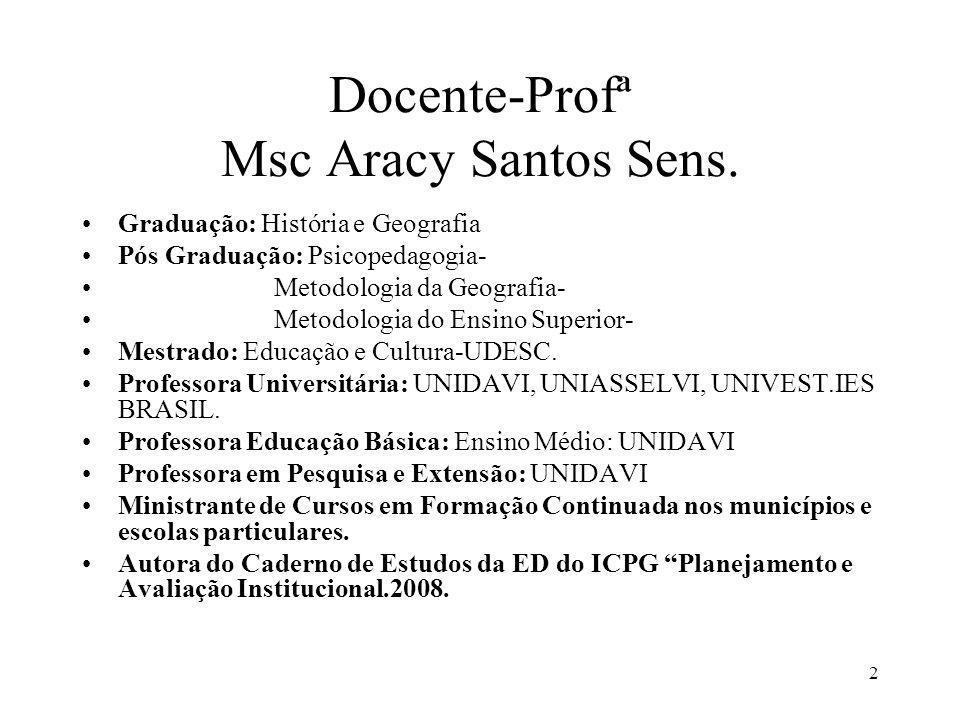 2 Docente-Profª Msc Aracy Santos Sens. Graduação: História e Geografia Pós Graduação: Psicopedagogia- Metodologia da Geografia- Metodologia do Ensino