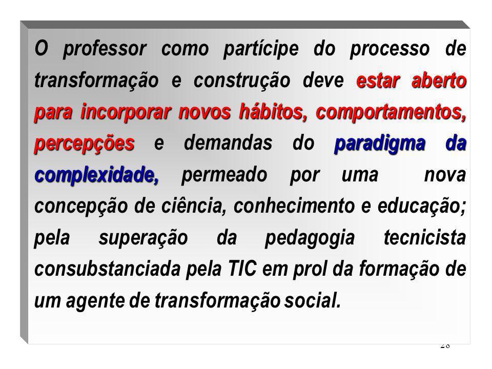 28 estar aberto para incorporar novos hábitos, comportamentos, percepçõesparadigma da complexidade, O professor como partícipe do processo de transfor