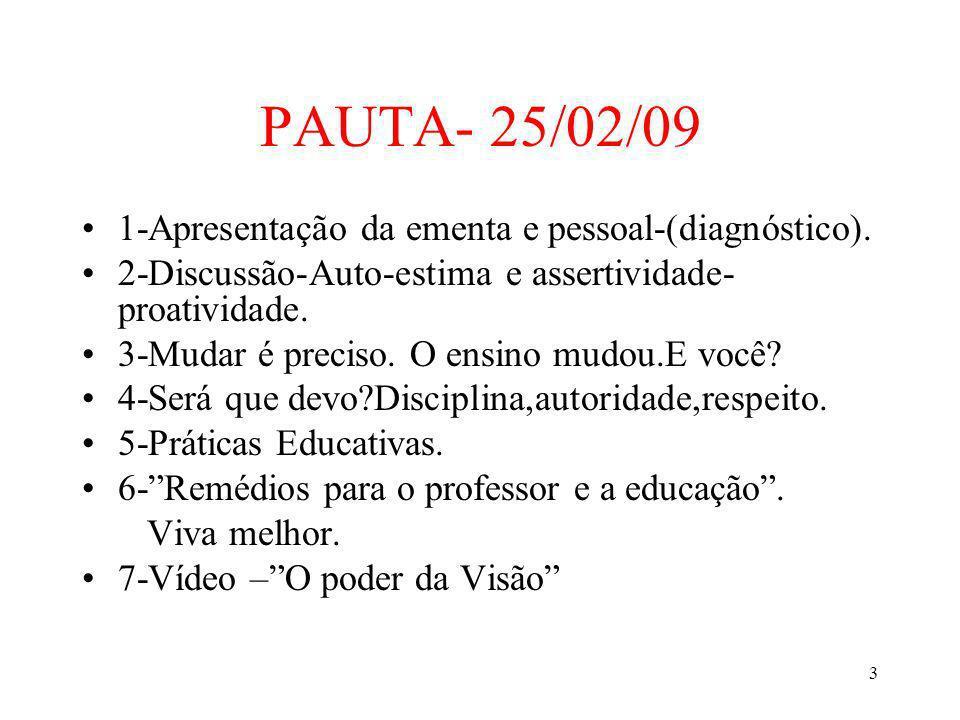 3 PAUTA- 25/02/09 1-Apresentação da ementa e pessoal-(diagnóstico). 2-Discussão-Auto-estima e assertividade- proatividade. 3-Mudar é preciso. O ensino